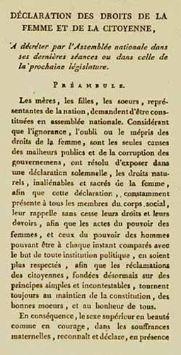 Déclaration des Droits de la Femme et de la Citoyenne. Source : http://data.abuledu.org/URI/50728506-declaration-des-droits-de-la-femme-et-de-la-citoyenne