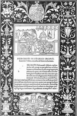 Dédicace de l'Histoire d'Hérodote en 1404. Source : http://data.abuledu.org/URI/53b3b2f5-dedicace-de-l-histoire-d-herodote-en-1404