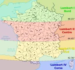 Départements français répartis sur 4 zones Lambert. Source : http://data.abuledu.org/URI/51ce19d2-departements-francais-repartis-sur-4-zones-lambert