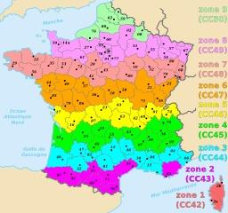Départements français répartis sur 9 zones Lambert. Source : http://data.abuledu.org/URI/51ce1a34-departements-francais-repartis-sur-9-zones-lambert