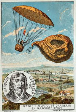 Descente de Jacques Garnerin en parachute en 1797. Source : http://data.abuledu.org/URI/5521c252-descente-de-jacques-garnerin-en-parachute-en-1797
