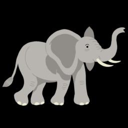 Dessin d'éléphant trompe relevée. Source : http://data.abuledu.org/URI/54f781ea-dessin-d-elephant-trompe-relevee