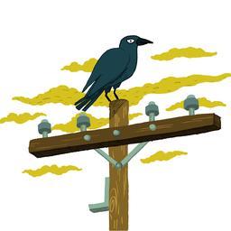 Dessin de corbeau sur un poteau électrique. Source : http://data.abuledu.org/URI/566b2cc4-dessin-de-corbeau-sur-un-poteau-electrique