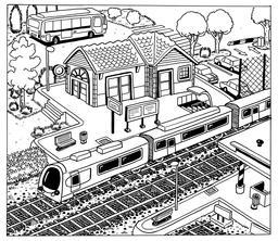 Dessin de petite gare. Source : http://data.abuledu.org/URI/5501431b-dessin-de-petite-gare