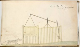 Dessin de piège à tigre en 1823. Source : http://data.abuledu.org/URI/56f71672-dessin-de-piege-a-tigre-en-1823