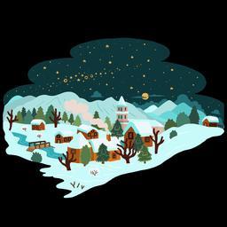 Dessin de village sous la neige. Source : http://data.abuledu.org/URI/566b2119-dessin-de-village-sous-la-neige