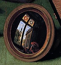 """Détail du """"Prêteur et sa femme"""" miroir convexe. Source : http://data.abuledu.org/URI/5023f25e-d-tail-metsys-miroir-convexe-jpg"""