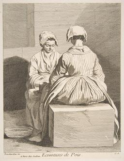 Deux écosseuses de petits pois à Paris en 1737. Source : http://data.abuledu.org/URI/54c12c36-deux-ecosseuses-de-petits-pois-a-paris-en-1737