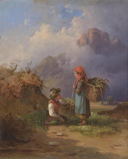 Deux enfants à la campagne. Source : http://data.abuledu.org/URI/52742fa1-deux-enfants-a-la-campagne