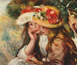 Deux filles en chapeau fleuri dans un jardin. Source : http://data.abuledu.org/URI/50fb3388-deux-filles-en-chapeau-fleuri-dans-un-jardin