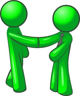Deux hommes verts se serrant la main. Source : http://data.abuledu.org/URI/54067772-deux-hommes-verts-se-serrant-la-main