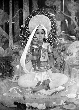 Devaki, la mère de Krishna. Source : http://data.abuledu.org/URI/52bb5179-devaki-la-mere-de-krishna