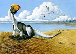 Dilophosaurus dans son environnement. Source : http://data.abuledu.org/URI/51230d3a-dilophosaurus-dans-son-environnement