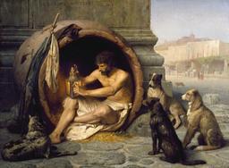 Diogène dans son abri. Source : http://data.abuledu.org/URI/52eaa64f-diogene-dans-son-abri
