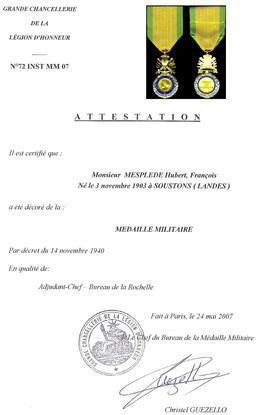 Diplôme de la Médaille militaire. Source : http://data.abuledu.org/URI/538ebbb8-diplome-de-la-medaille-militaire