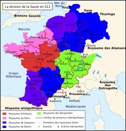 Division de la Gaule en 511. Source : http://data.abuledu.org/URI/5073499c-division-de-la-gaule-en-511