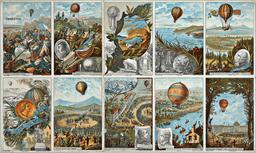 Dix étapes de l'histoire des aérostats. Source : http://data.abuledu.org/URI/51b04747-dix-etapes-de-l-histoire-des-aerostats