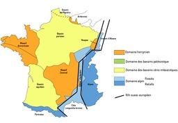 Domaines géologiques de France. Source : http://data.abuledu.org/URI/506bdf69-domaines-geologiques-de-france
