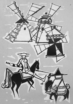 Don Quichotte et les moulins à vent. Source : http://data.abuledu.org/URI/556a0aec-don-quichotte-et-les-moulins-a-vent