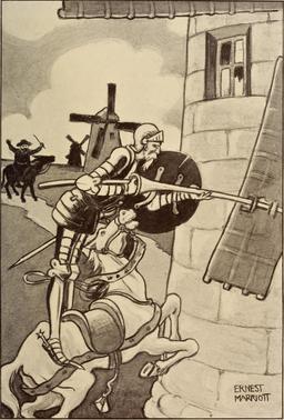 Don Quichotte et les moulins à vent en 1908. Source : http://data.abuledu.org/URI/596364c7-don-quichotte-et-les-moulins-a-vent-en-1908