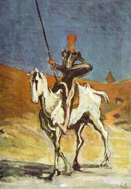Don Quichotte et Rossinante par Daumier. Source : http://data.abuledu.org/URI/52bf4187-don-quichotte-et-rossinante-par-daumier