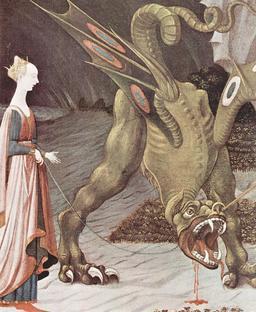 Dragon blessé tenu en laisse. Source : http://data.abuledu.org/URI/533c1a22-dragon-blesse-tenu-en-laisse