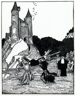 Duel médiéval à l'épée en 1903. Source : http://data.abuledu.org/URI/5950ae71-duel-medieval-a-l-epee-en-1903