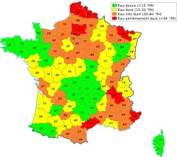 Dureté de l'eau en France. Source : http://data.abuledu.org/URI/50788216-durete-de-l-eau-en-france