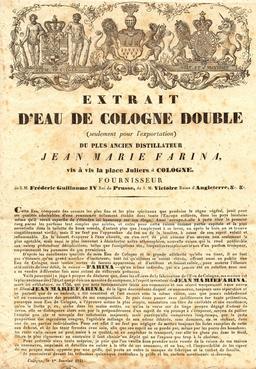 Eau de Cologne en 1841. Source : http://data.abuledu.org/URI/53a156af-eau-de-cologne-en-1841