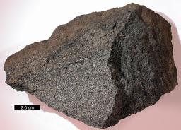 Échantillon de gabbro. Source : http://data.abuledu.org/URI/50954362-echantillon-de-gabbro