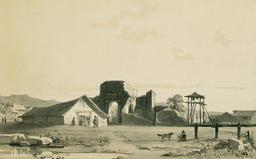 Église de Penco au Chili en 1838. Source : http://data.abuledu.org/URI/59806865-eglise-de-penco-au-chili-en-1838