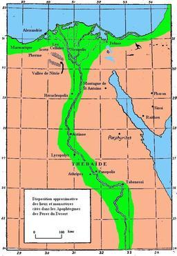 Carte des monastères d'Égypte. Source : http://data.abuledu.org/URI/52ea5f74-egypte-monastique-couleur-jpg