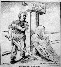 Einstein prend les armes, 1933. Source : http://data.abuledu.org/URI/50b23d6f-einstein-prend-les-armes-1933