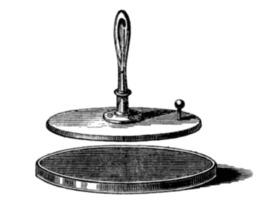 Électrophore de Volta. Source : http://data.abuledu.org/URI/50c2793b-electrophore-de-volta