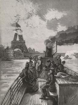 En bateau-mouche aux abords du pont d'Iéna en 1889. Source : http://data.abuledu.org/URI/5870390d-en-bateau-mouche-aux-abords-du-pont-d-iena-en-1889