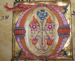 Enluminure de la lettre O du Psalterium nocturnus. Source : http://data.abuledu.org/URI/53d3f8d6-enluminure-de-la-lettre-o-du-psalterium-nocturnus