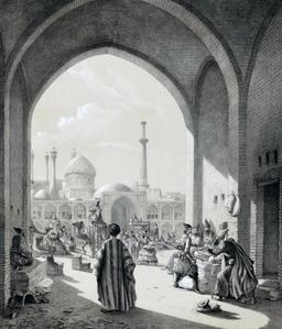 Entrée d'un caravanserail à Ispahan en 1840. Source : http://data.abuledu.org/URI/53df817e-entree-d-un-caravanserail-a-ispahan-en-1840