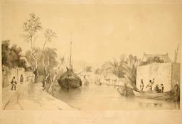 Entrée du canal de Samarang dans l'île de Java. Source : http://data.abuledu.org/URI/5981866a-entree-du-canal-de-samarang-dans-l-ile-de-java