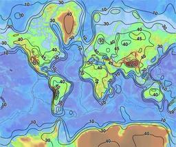 Épaisseur de la croûte terrestre. Source : http://data.abuledu.org/URI/5094e9a9-epaisseur-de-la-croute-terrestre