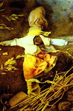 Épouvantail abandonné dans les champs. Source : http://data.abuledu.org/URI/520a6d4e-epouvantail-abandonne-dans-les-champs