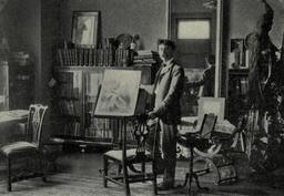 Ernest Thompson Seton dans son studio en 1901. Source : http://data.abuledu.org/URI/587e2ed5-ernest-thompson-seton-dans-son-studio-en-1901