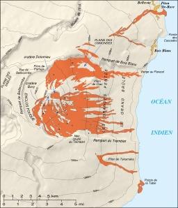 Éruptions récentes au Piton de la Fournaise. Source : http://data.abuledu.org/URI/521a34f7-eruptions-recentes-au-piton-de-la-fournise