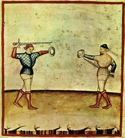 Escrime au Moyen Age. Source : http://data.abuledu.org/URI/50c9c344-escrime-au-moyen-age