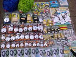 Étalage de cadenas et de ciseaux en vente. Source : http://data.abuledu.org/URI/532f4e5c-etalage-de-cadenas-et-de-ciseaux-en-vente