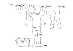 Étendre le linge. Source : http://data.abuledu.org/URI/50257be1-etendre-le-linge