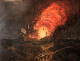 Explosion du César, Bataille des Saintes en 1782. Source : http://data.abuledu.org/URI/5295e327-explosion-du-cesar-bataille-des-saintes-en-1782