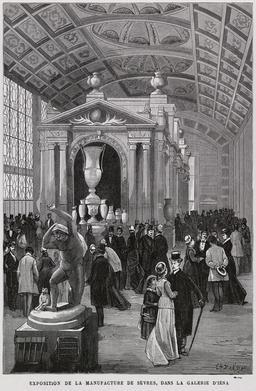 Exposition de la manufacture de Sèvres en 1879. Source : http://data.abuledu.org/URI/58704209-exposition-de-la-manufacture-de-sevres-en-1879