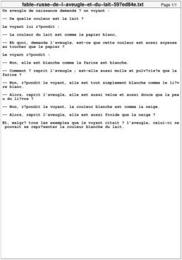 Fable russe de l'aveugle et du lait. Source : http://data.abuledu.org/URI/597ed84e-fable-russe-de-l-aveugle-et-du-lait