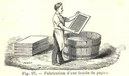 Fabrication d'une feuille de papier. Source : http://data.abuledu.org/URI/591aafa9-fabrication-d-une-feuille-de-papier