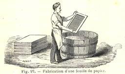 Fabrication d'une feuille de papier en 1906. Source : http://data.abuledu.org/URI/53caa703-fabrication-d-une-feuille-de-papier-en-1906